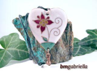 Virággyerek -  tűzzománc nyaklánc - kézműves ékszer