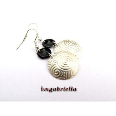 Nox et Luna - ezüstözött és tűzzománc fülbevaló - egyedi tervezésű ékszer
