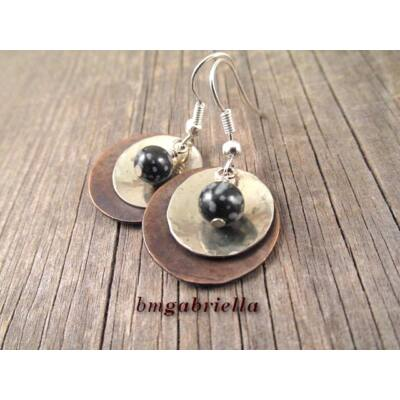 Ónix planéta - ásvány és vegyes fém fülbevaló