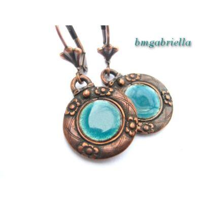 Turquoise - tűzzománc fülbevaló