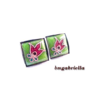 Termő tulipán zöldben - tűzzománc fülbevaló
