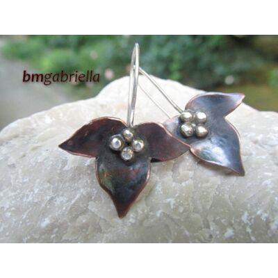 Levél - ezüst és vörösréz fülbevaló - egyedi tervezésű ékszer