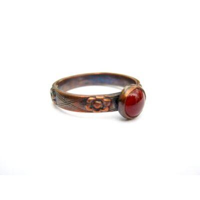 Bordói - tűzzománc és réz gyűrű
