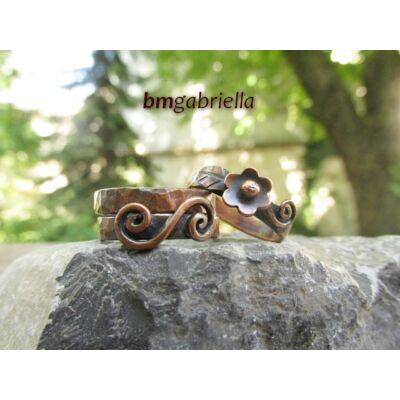 Indás alandor - vörösréz gyűrű - egyedi gyűrű