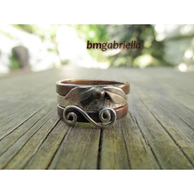 Levél és csiga - vörösréz és ezüst gyűrű