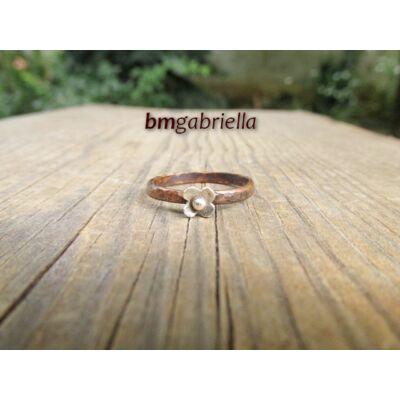 Rézerdő virágai - ezüst és vörösréz egyedi tervezésű gyűrű, kézműves ékszer