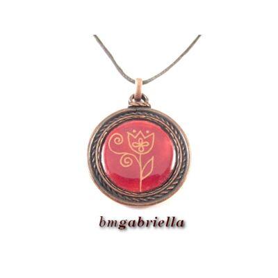 Arany tulipános - tűzzománc medál, kézműves ékszer
