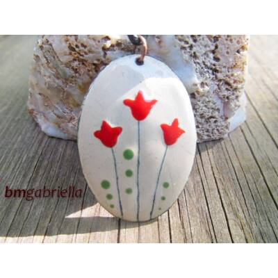 Tulipán - tűzzománc medál
