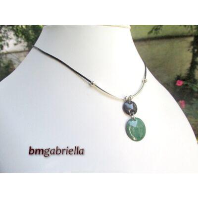 Smaragd éj - tűzzománc medál - egyedi tervezésű ékszer