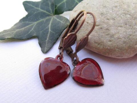 Tűzzománc fülbevaló -  Bordó szív fülbevaló