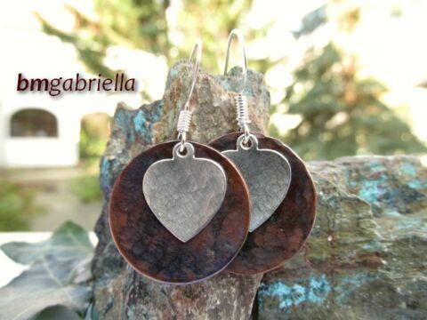 Szív - ezüstözött és vörösréz fülbevaló - egyedi tervezésű kézműves ékszer