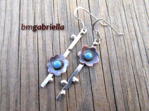 Nefelejcskék - ezüst és vörösréz fülbevaló - egyedi kézműves fülbevaló