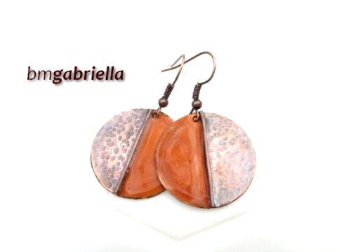 Vidám Felemás - narancssárga tűzzománc fülbevaló - kézműves ékszer
