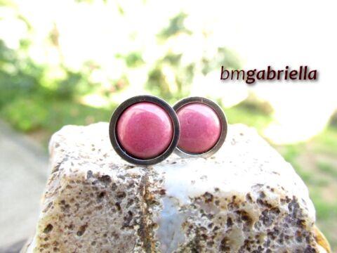 Tűzzománc bedugós fülbevaló - nemesacél, orvosi fém fülbevaló - rózsaszín