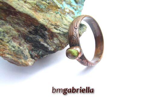 Mrs Green - vörösréz és peridot gyűrű - egyedi tervezésű kézműves gyűrű