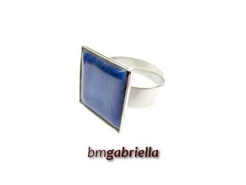 Tűzzománc gyűrű - egyedi tervezésű nemesacél gyűrű - sötétkék, állítható