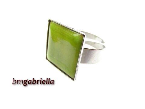 Tűzzománc gyűrű - egyedi tervezésű nemesacél gyűrű - zöld, állítható