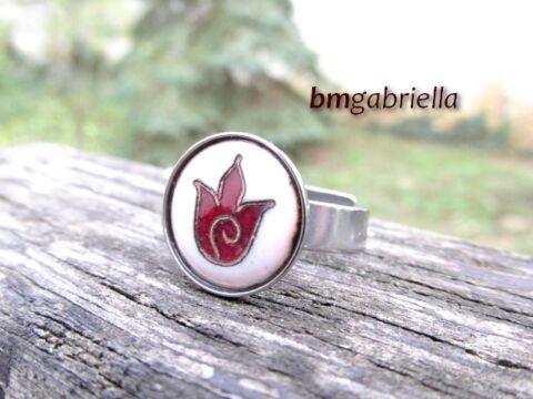 Tulipán - tűzzománc és nemesacél gyűrű
